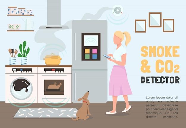 Modèle de bannière de détecteur de fumée et de co2. brochure sur la sécurité de la maison intelligente, concept d'affiche avec des personnages de dessins animés. internet des objets, dépliant horizontal, dépliant avec place pour le texte