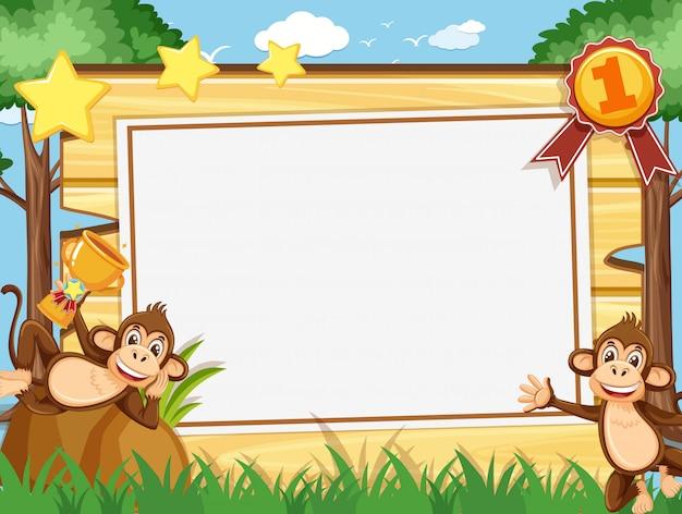 Modèle de bannière avec deux singes heureux dans le parc