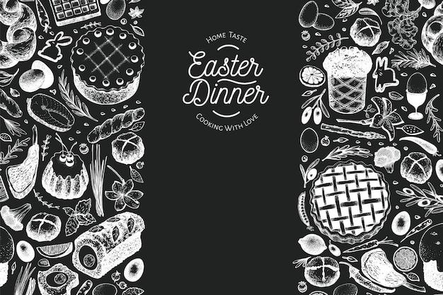 Modèle de bannière de dîner de pâques