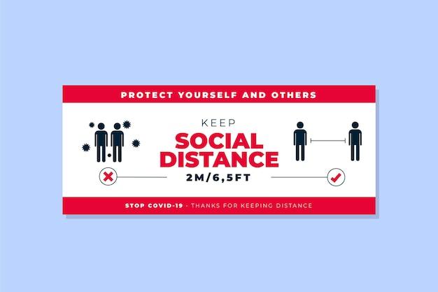 Modèle de bannière de distance sociale