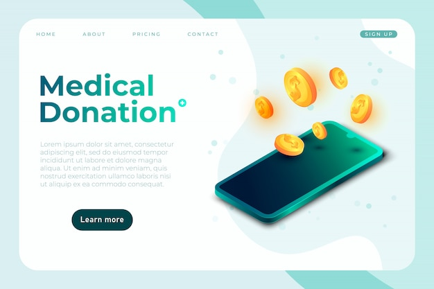 Modèle de bannière de don médical, page de destination de charité de soins de santé avec illustration de téléphone isométrique et pièces 3d, modèle de page de destination, illustration