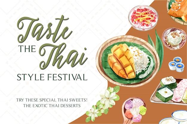 Modèle de bannière douce thaï avec riz collant, mangue, aquarelle illustration de la crème glacée.