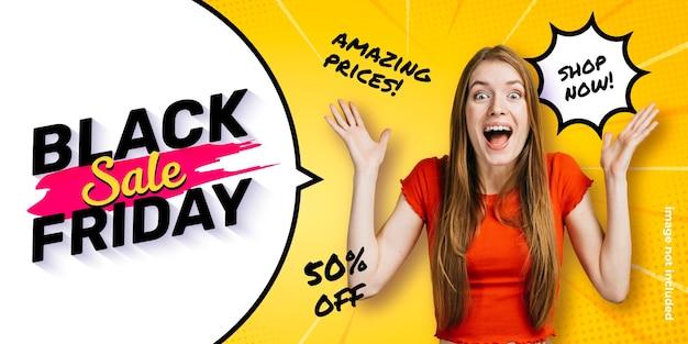Modèle de bannière drôle black friday avec bulle de dialogue et fond de zoom comique