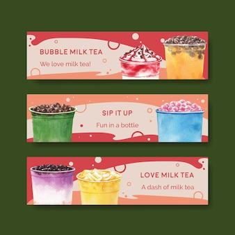 Modèle de bannière avec du thé au lait à bulles