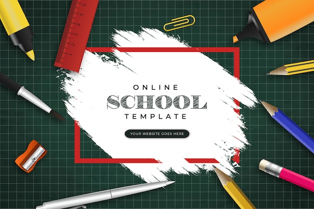 Modèle de bannière d'école en ligne avec coup de pinceau et papeterie