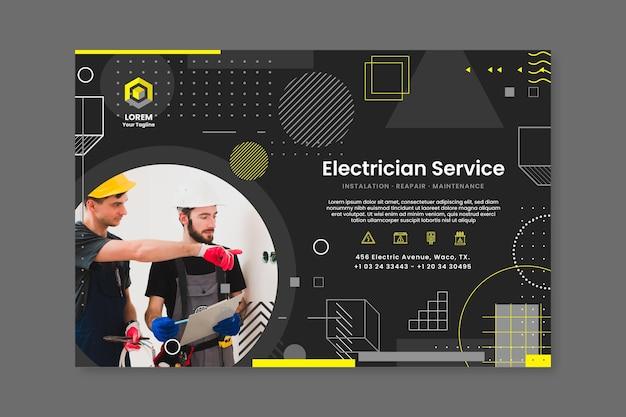 Modèle de bannière d'électricien sombre