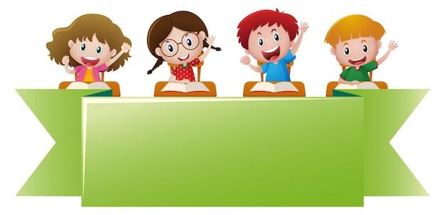 Modèle de bannière avec des enfants heureux