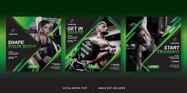 Modèle de bannière d'entraînement post fitness sur les médias sociaux