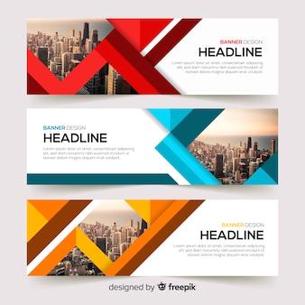 Modèle de bannière d'entreprise abstrait avec photo