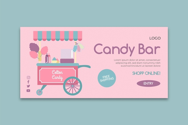 Modèle de bannière d'entreprise candy bar rose