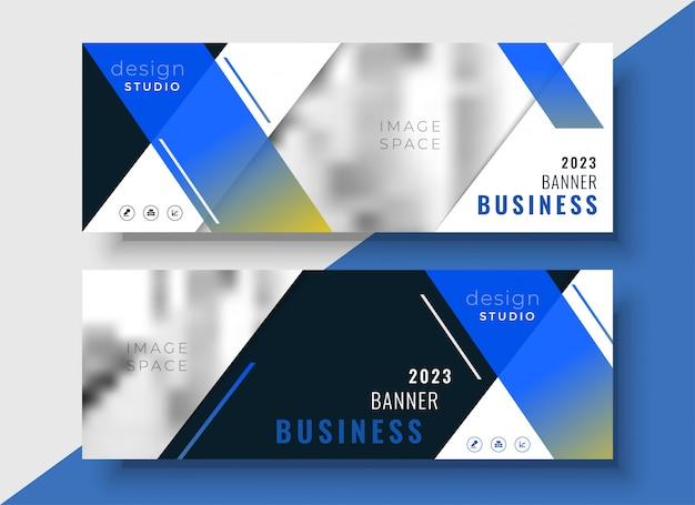 Modèle de bannière entreprise géométrique bleu