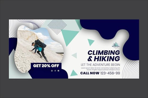 Modèle de bannière d'escalade et de randonnée