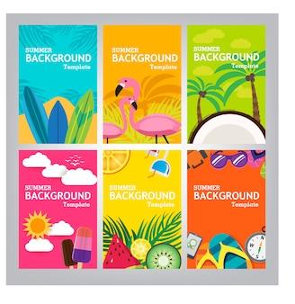Modèle de bannière d'été sur fond de couleur.