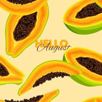 Modèle de bannière d'été modèle sans couture de papaye