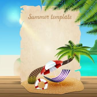 Modèle de bannière d'été sous la forme de parchemin sur le fond d'un magnifique paysage marin