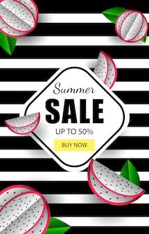Modèle de bannière d'été vente de fruits tropicaux