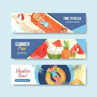 Modèle de bannière d'été