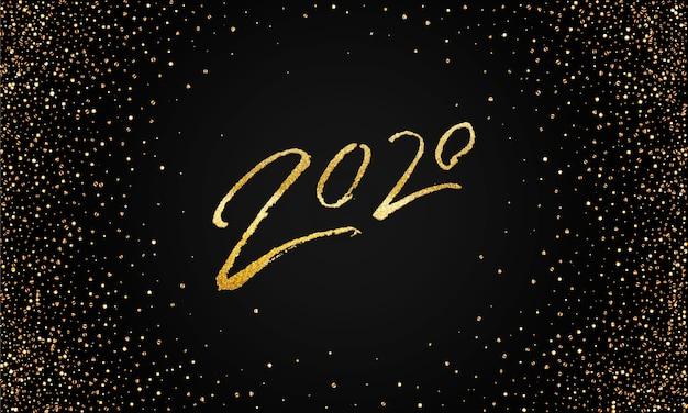 Modèle de bannière étincelante doré 2020 bonne année.