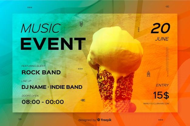 Modèle de bannière d'événement de musique avec photo