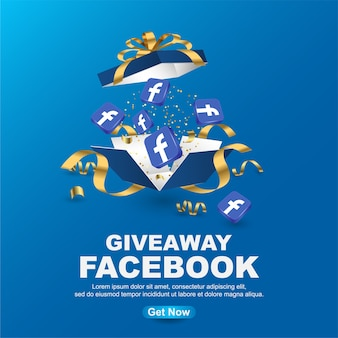 Modèle de bannière facebook cadeau sur fond bleu
