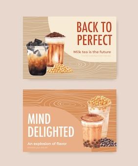 Modèle de bannière facebook avec du thé au lait à bulles