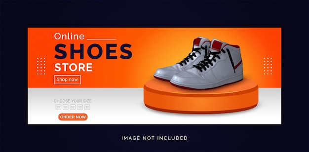 Modèle de bannière facebook pour les médias sociaux de magasin de chaussures en ligne
