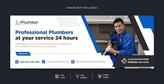 Modèle de bannière facebook de service de qualité de plomberie gratuit