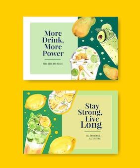Modèle de bannière facebook avec des smoothies aux fruits