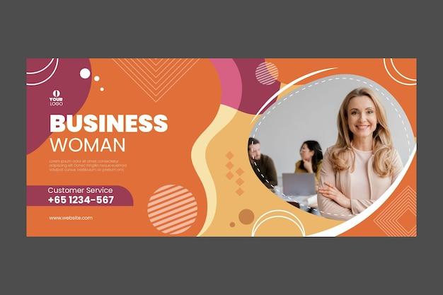 Modèle de bannière de femme d & # 39; affaires avec photo