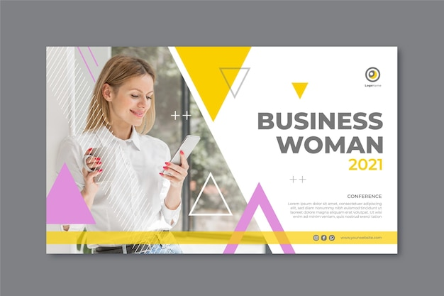 Modèle de bannière de femme d & # 39; affaires