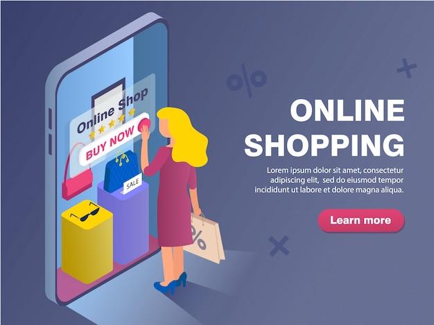Modèle de bannière avec femme shopping dans la boutique en ligne