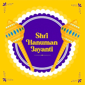 Modèle De Bannière De Festival Shri Hanuman Jayanti Vecteur Premium