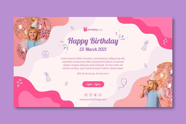 Modèle de bannière de fête d'anniversaire