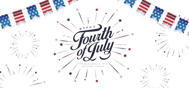 Modèle de bannière de fête de l'indépendance usa modèle de célébration du 4 juillet