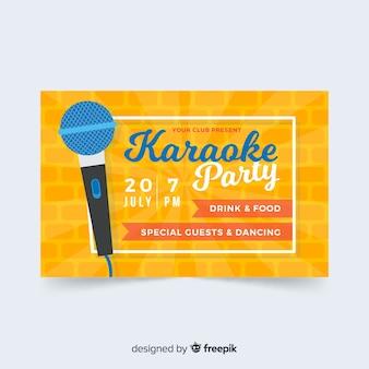 Modèle de bannière de fête karaoké à plat