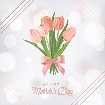 Modèle de bannière de fête des mères avec bouquet de fleurs de tulipes. carte de voeux florale de fête des mères pour flyer, brochure, modèle de remise de printemps de vente. illustration vectorielle