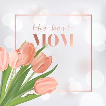 Modèle de bannière de fête des mères avec des fleurs de tulipes. carte de voeux florale de fête des mères pour flyer, brochure, modèle de remise de printemps de vente. illustration vectorielle