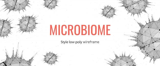Modèle de bannière filaire microbiome low poly