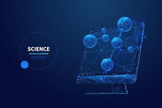 Modèle de bannière filaire poly faible science futuriste. technologie de recherche scientifique, conception polygonale d'affiche d'étude de biotechnologie. moniteur avec modèle de molécule art de maillage 3d avec points connectés
