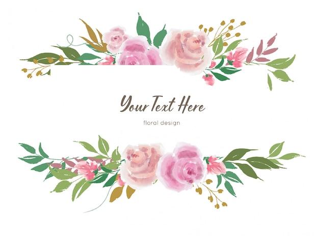 Modèle de bannière floral vector avec fleurs roses et feuilles