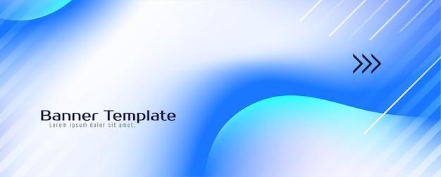 Modèle de bannière de flux liquide moderne de couleur bleue