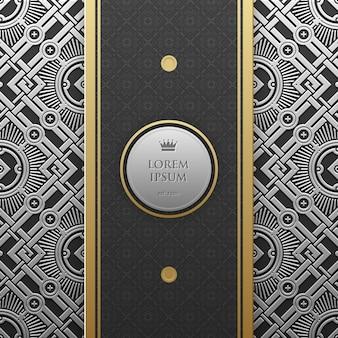 Modèle de bannière sur fond métallique argent / platine avec motif géométrique sans soudure