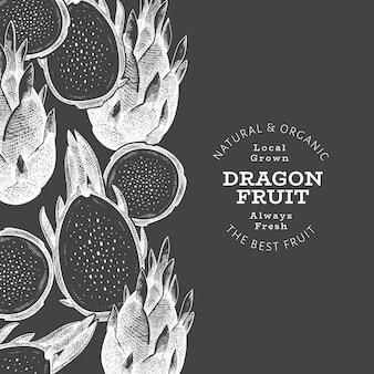 Modèle de bannière de fruit du dragon dessiné à la main