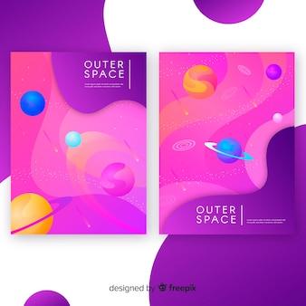 Modèle de bannière de galaxie dessiné main coloré