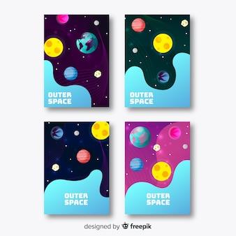 Modèle de bannière galaxy dessiné à la main