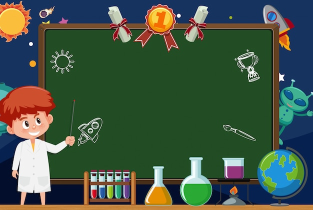 Modèle de bannière avec garçon en robe de laboratoire et fond d'espace