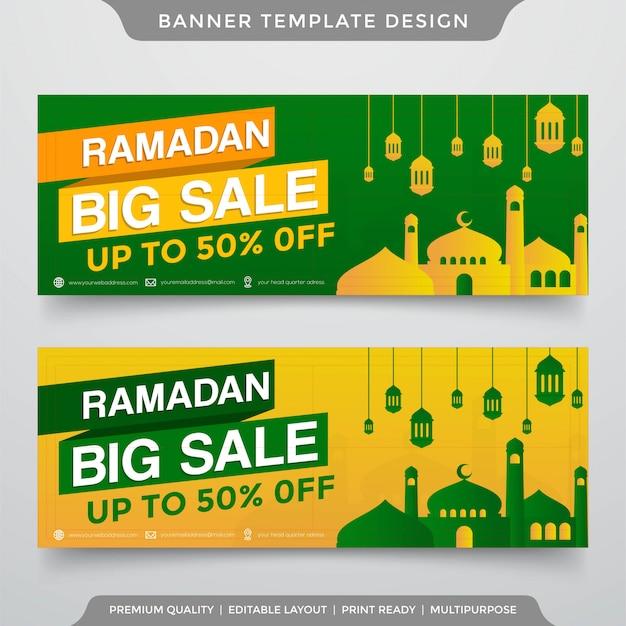Modèle de bannière grande vente ramadan