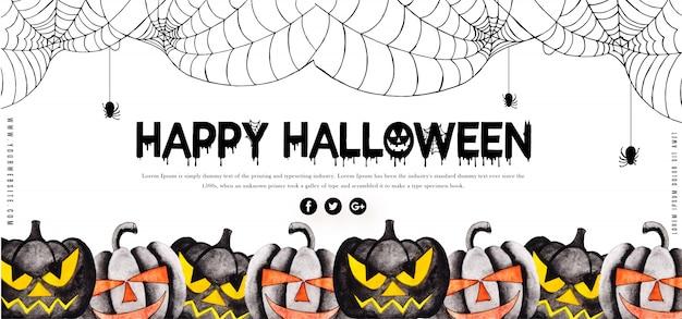 Modèle de bannière halloween aquarelle