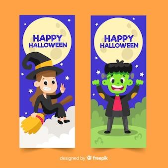 Modèle de bannière halloween design plat