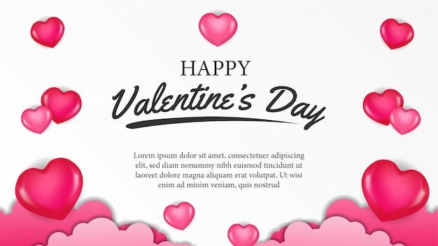 Modèle de bannière happy valentine day heart